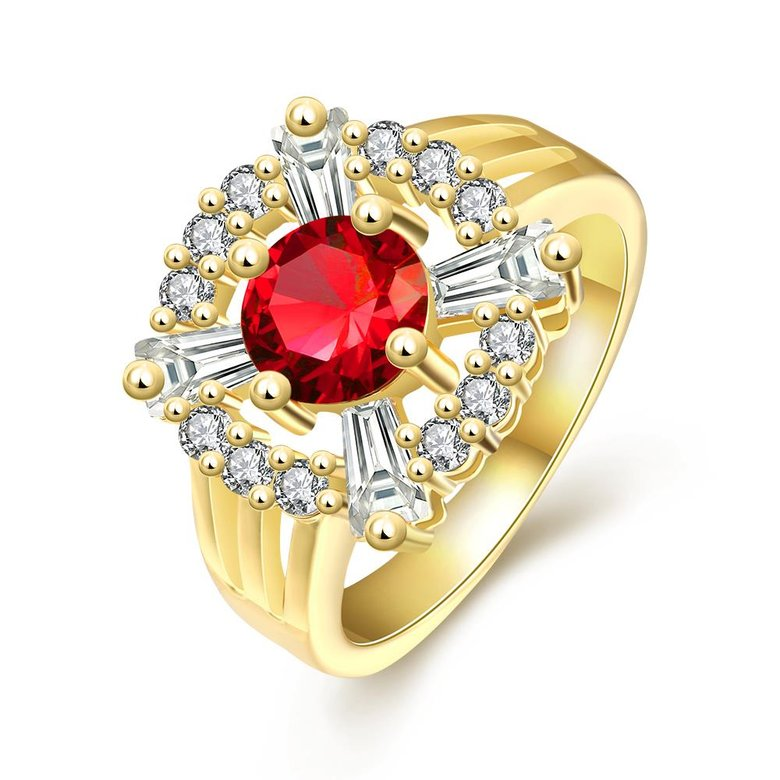 Wholesale Romantic 24K Gold Court style Ruby Luxurious red Classic Engagement Ring wedding party Ring For Women TGCZR187