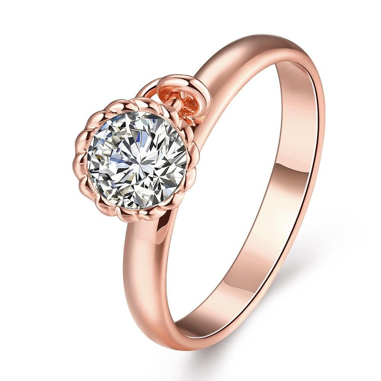 Wholesale Fashion jewelry from China Trendy white flower AAA+ Cubic zircon Ring  For Women Romantic Style rose Gold color Hot jewelry TGCZR253