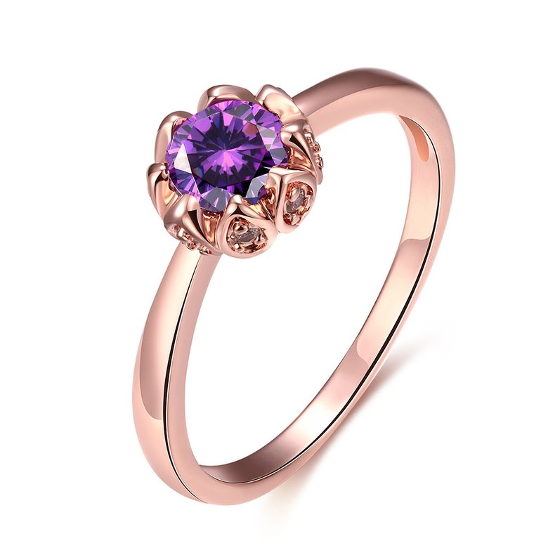 Wholesale Fashion Romantic Rose Gold Plated  purple CZ Ring nobility Luxury Ladies Party engagement jewelry Best Mother's Gift TGCZR292