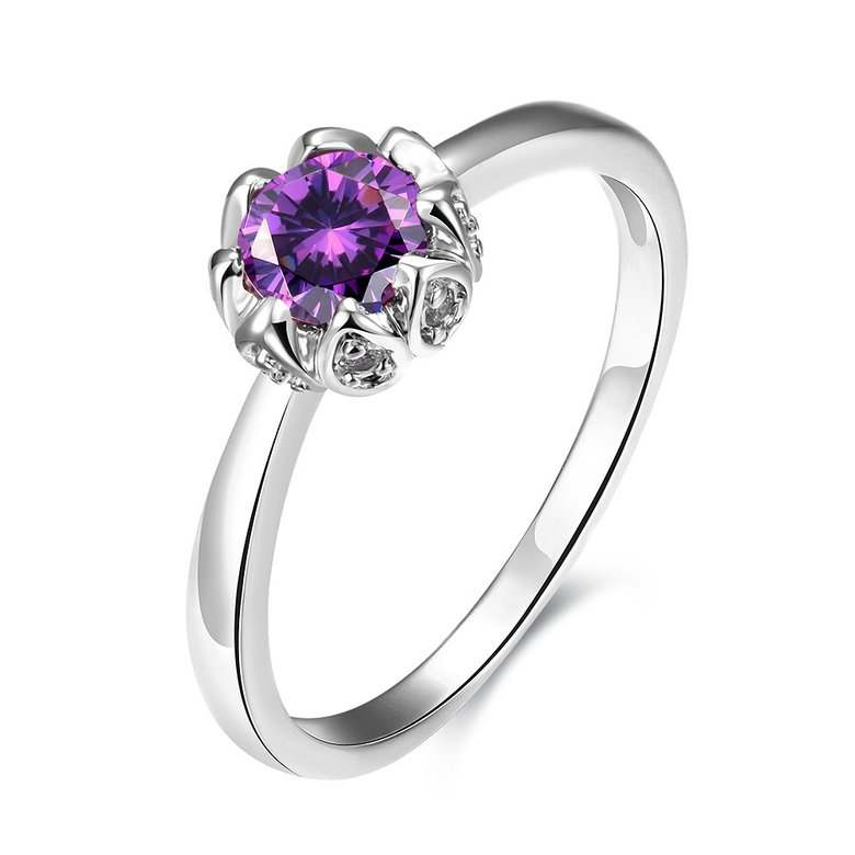Wholesale Fashion Romantic platinum flower purple CZ Ring nobility Luxury Ladies Party engagement jewelry Best Mother's Gift TGCZR296