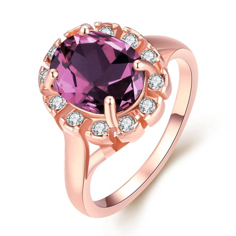 Wholesale Classic exquisite rose-golden rings big purple AAA zircon trendy fashion jewelry for women best Christmas gift TGCZR457