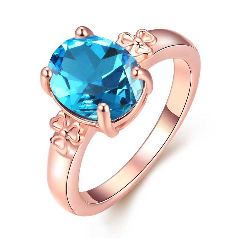 Wholesale Classic rose gold Ring Oval blue Zircon Women Ring Gorgeous Wedding Anniversary Birthday Gift for Wife/Mother/Grandmother TGCZR464