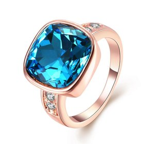 Wholesale Fashion hot selling Bohemia Rose Gold Geometric Blue Czech  Cubic Zirconia Women Rings Luxury Party jewelry Best Mother's Gift TGCZR028