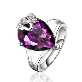 Wholesale Classic Platinum rings Luxury Wedding Anniversary Ring with Pear Shape Huge purple CZ Setting Fashion Engagement jewelry  TGCZR104