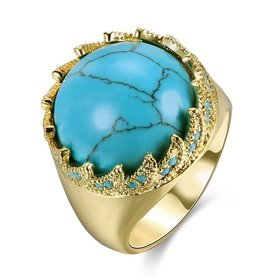 Wholesale Vintage gold Wide Big round Natural Turquoises Rings For women Bohemian Boho Jewelry goldfriend Gifts TGNSR024