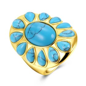 Wholesale Vintage 18K gold Wide Big Natural Turquoises Rings For women Bohemian Boho Jewelry goldfriend Gifts TGNSR025