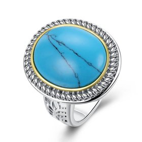 Wholesale Fashion Oval High Quality Natural Turquoise Rings for Women Silver color Trendy Jewelry  Gifts TGNSR027