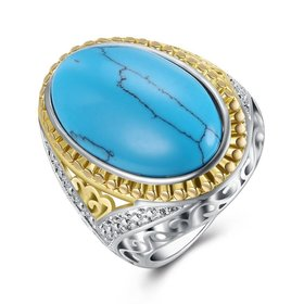 Wholesale Fashion Oval High Quality Natural Turquoise Rings for Women Silver color Trendy Jewelry  Gifts TGNSR028