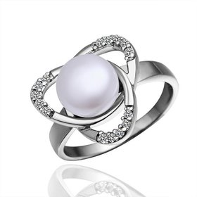 Fashion Romantic Platinum rings Natural Freshwater Pearl Retro Good Quality Ring For Women wedding ball jewelry Drop Shipping