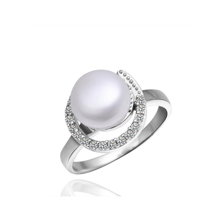 Wholesale Fashion Romantic Platinum rings Natural Freshwater Pearl Retro Good Quality Ring For Women wedding ball jewelry Drop Shipping TGPR006