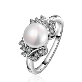 Fashion Romantic Platinum rings Natural white Pearl Retro Good Quality Ring For Women wedding ball jewelry Drop Shipping