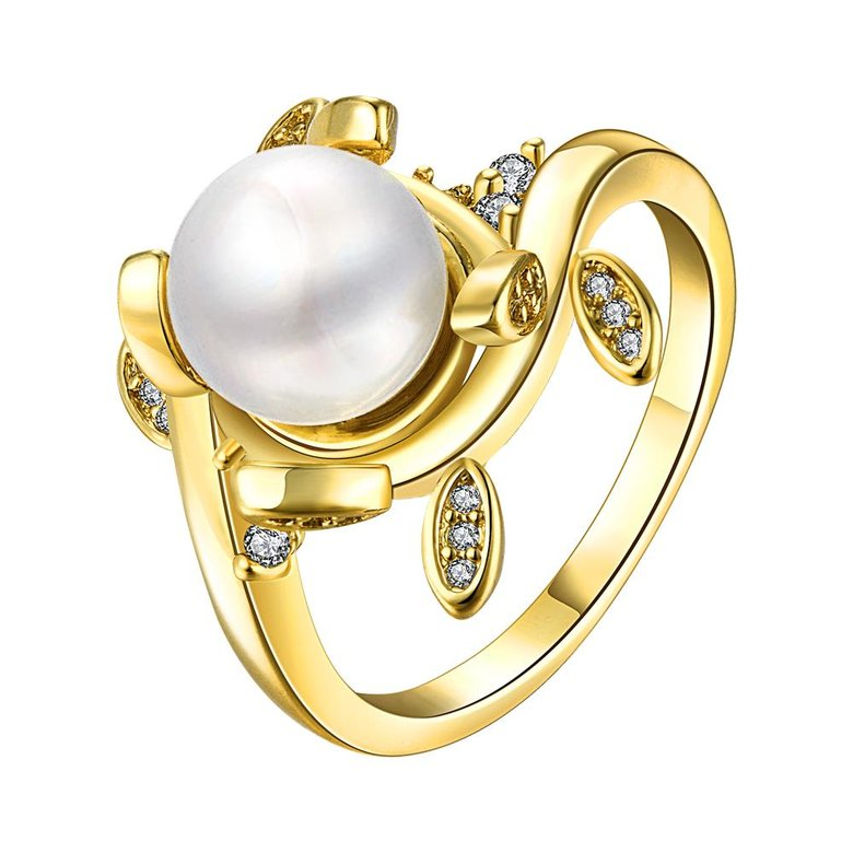 Wholesale Classic 24K Gold Plant White pearl Ring For Women Wedding Party Cute Fine Jewelry Accessories TGPR012