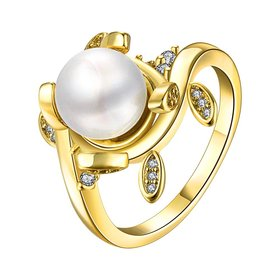 Classic 24K Gold Plant White pearl Ring For Women Wedding Party Cute Fine Jewelry Accessories