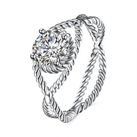 Wholesale Fashion popular 925 Sterling Silver Round CZ Twist Ring for Women Lady Authentic Original Jewelry Gift  TGSLR047