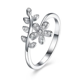 Wholesale Fashion Korean 925 Sterling Silver Handmade Leaf flower Rings for Women Exquisite CZ Stone wholesale Jewelry  TGSLR058
