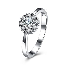 Wholesale 925 Sterling Silver Round Shape Radiant Elegance, Clear AAA CZ Crystal Flower Finger Rings for Women ANNIVERSARY wedding jewelry TGSLR064