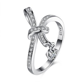 Wholesale Trendy 925 Sterling Silver Geometric CZ knot finger Ring for Women Girls Best Birthday Gift Zircon jewelry TGSLR072