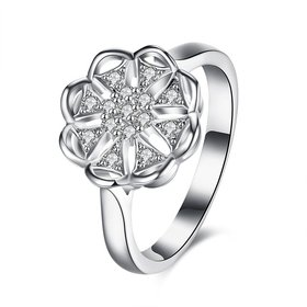 Wholesale 925 Sterling Silver Round Shape Radiant Elegance shining AAA CZ Crystal Flower Rings for Women ANNIVERSARY wedding jewelry TGSLR086