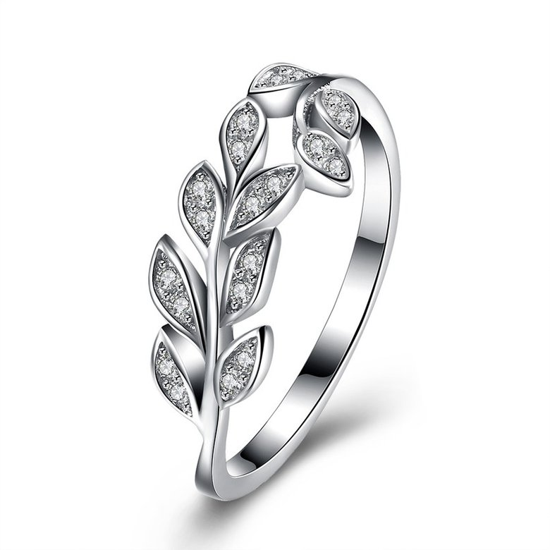 Wholesale Korean Trendy 925 Sterling Silver Handmade Olive Leaf Rings for Women Exquisite CZ Stone wholesale Jewelry TGSLR088