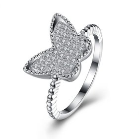 Wholesale Trendy Real 100% 925 Sterling Silver Butterfly Rings For Women Clear CZ Lady Engagement Decoration Ring Wedding Jewelry TGSLR092