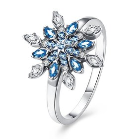 Fashion 925 Sterling Silver Snowflake blue CZ Ring For Women Classic Elegant Bridal Wedding Jewelry Engagement Rings