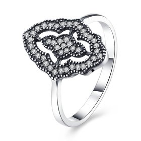 New 925 Sterling Silver Ring Pave Sparkling Classic Lace With Crystal Ring For Women Wedding Party Gift Fine Jewelry