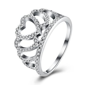 Luxury Atmospheric Gorgeous Trendy Crown Rings For Women Bridal Wedding Engagement 925 Sterling Silver Clear heart CZ