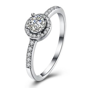 Trendy Genuine 925 Sterling Silver Round Clear CZ Fashion Finger Ring Classic Jewelry For Women luxury Wedding Engagement Rings