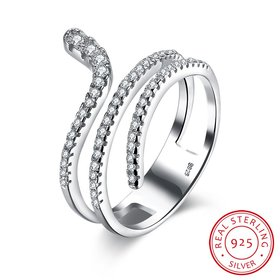 Wholesale Genuine 925 Sterling Silver CZ Ring Cute Animal Snake Rings for Women Wedding Bands White Crystal Unique Winding Engagement Ring TGSLR001