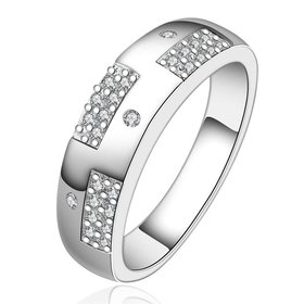 Wholesale New Creative Silver Plated Round Cubic Zirconia Ring for Women Bride Engagement Wedding Ring SPR566