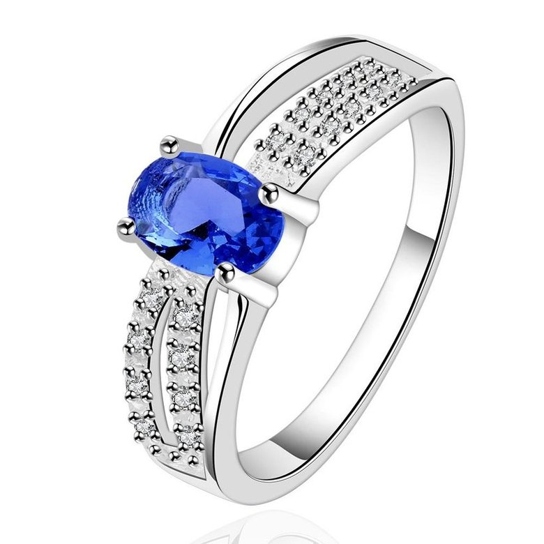 Wholesale Romantic luxury classic Silver Plated Oval blue Zircon Ring for Women Wedding Ring jewelry SPR570