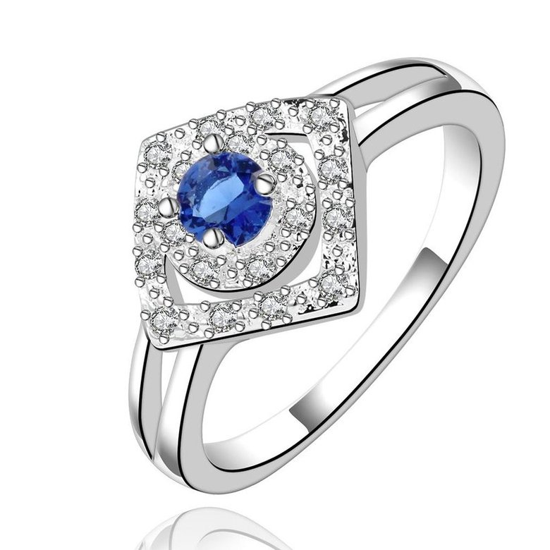 Wholesale Romantic luxury classic Silver Plated Square blue Zircon Ring for Women Wedding Ring SPR571