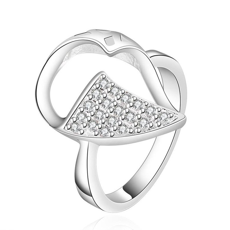 Wholesale New Creative Fashion Luxury Silver Plated Geometric ablaze Zircon Ring for Unisex Engagement Wedding Ring SPR573