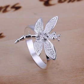 Wholesale New Creative Classic Silver Plated Exquisite Design dragonfly Ring for Women SPR583