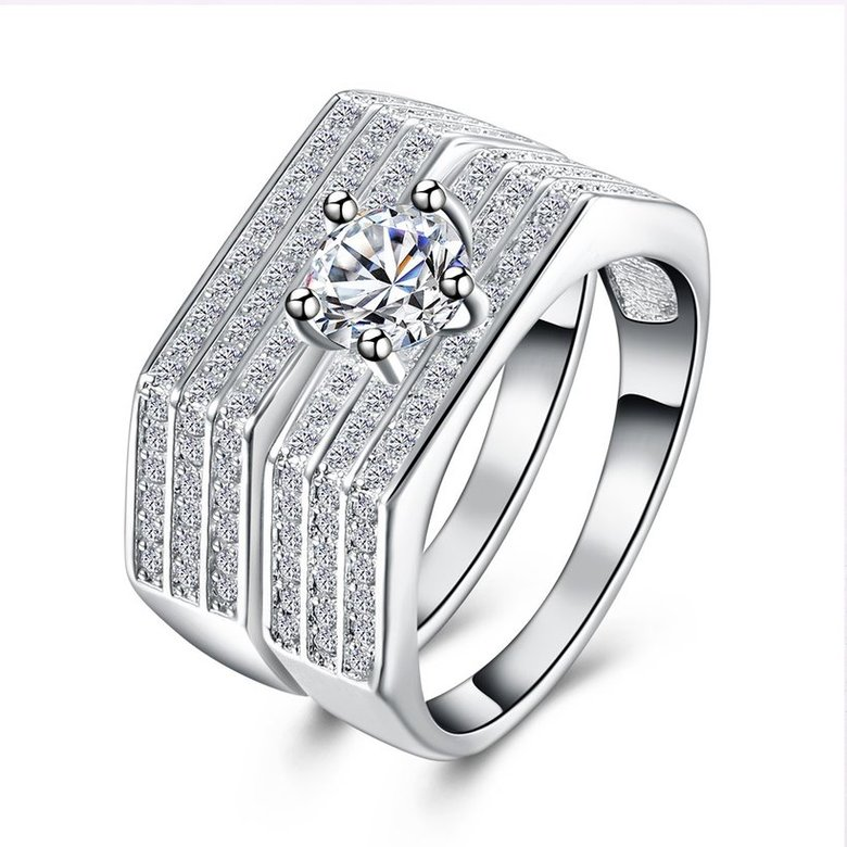 Wholesale Trendy Silver Plated combination hexagon Zircon Ring for Women SPR591