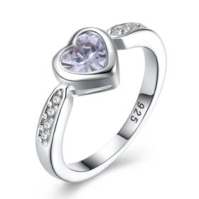 Wholesale Fashion Elegant Design Silver Plated ablaze Heart Shaped Zircon Ring for Women wedding jewelry SPR598