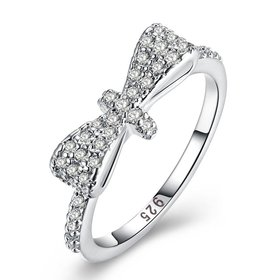 Wholesale Exquisite Fashion Design Silver Plated bowknot Zircon Ring for Women SPR599