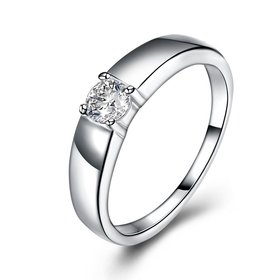 Wholesale Classic  Elegant Design Silver Plated ablaze Zircon Ring for Women Bride Engagement Wedding jewelry SPR604