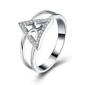 Trendy Silver Plated triangle Zircon Ring for Women finger jewelry Fashion Wedding Rings Statement Jewelry
