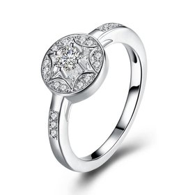 Trendy luxury classic Silver Plated Round Zircon Ring Stainless Steel Round Wedding Bride Party Rings For Women Girls