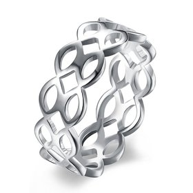 Fashion wholesale jewelry Silver Plated Geometric Ring  Minimalist Hollow Ring For Charming Women Party Fine Jewelry