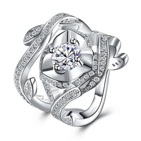 Exquisite Design luxury fashion Silver Plated big rose flower Zircon Rings hight quality with CZ Cubic Zircon ring Suit party