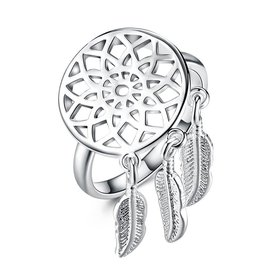 Trendy Leaves Ring Feather Leaf Charm Pendant Rings Dream Catcher Wish Ring For Women Girl Size Adjustable Wrap Jewelry