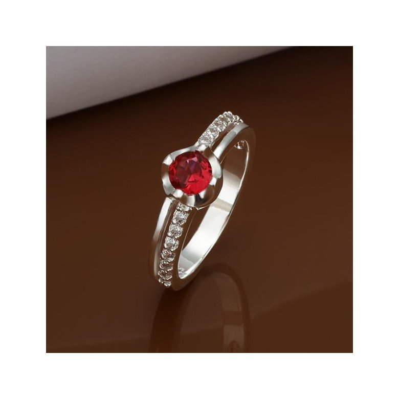 Wholesale Hot selling Red Zircon Stone Rings For Women Vintage Silver Color Engagement Ring  Bridal Wedding Jewelry TGSPR665