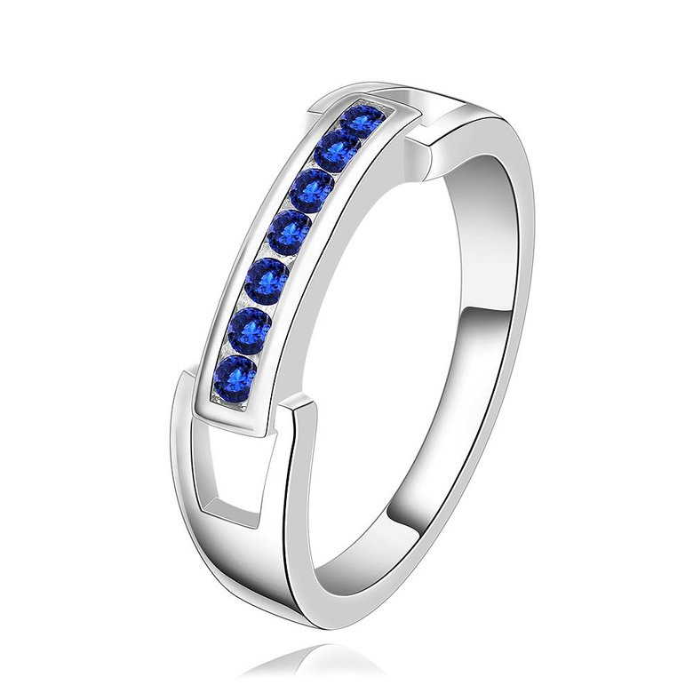 Wholesale Romantic Silver Ring Wedding Bands Jewelry Blue Cubic Zircon Crystal Ring For Women Engagement jewelry TGSPR271