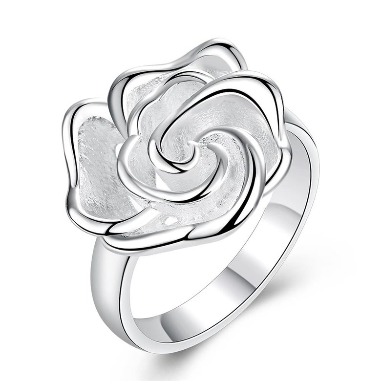 Wholesale rings from China European style Fashion Woman Girl Party Wedding Gift Silver Rose Silver Ring TGSPR209