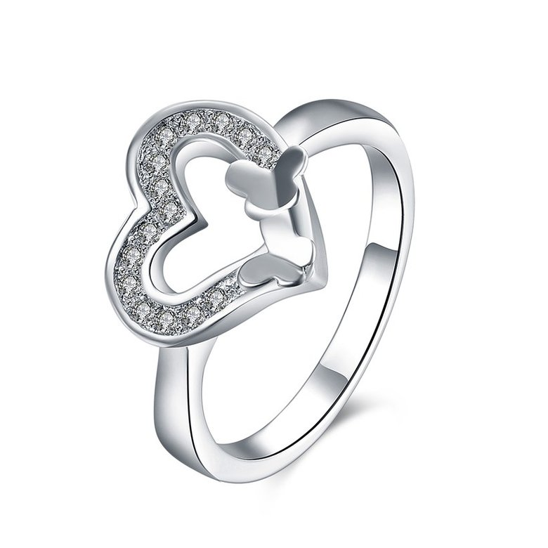 Wholesale New Design Fashion silver plated Heart Shape Classic Love Ring 5A Zircon Finger Rings For Women Engagement Jewelry TGSPR429