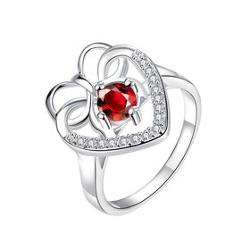 Wholesale Fashion Classic Heart Shape with Inlaid Red Zircon Ring for Women Wedding Party Cocktail Jewelry TGSPR159
