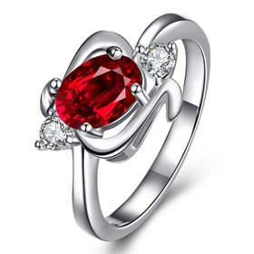 Wholesale Multicolor Women's Rings Elegant Silver Plant Red Glass Ring Jewelry Ring Wedding Party Christmas Gift TGSPR002