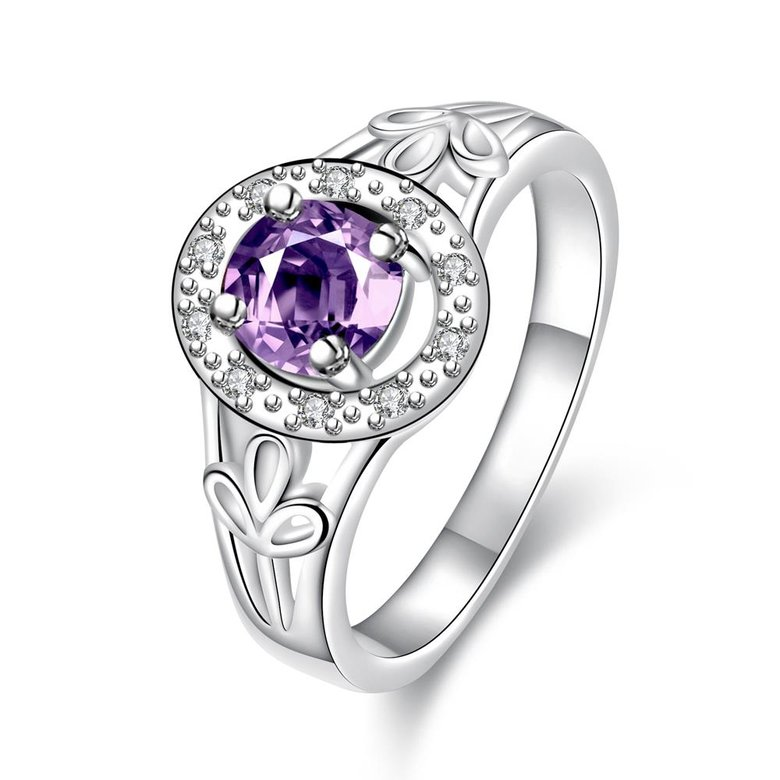 Wholesale Fashion jewelry from China Romantic Classical purple Zircon Silver color Finger jewelry Promise Engagement party Rings for Women TGSPR633